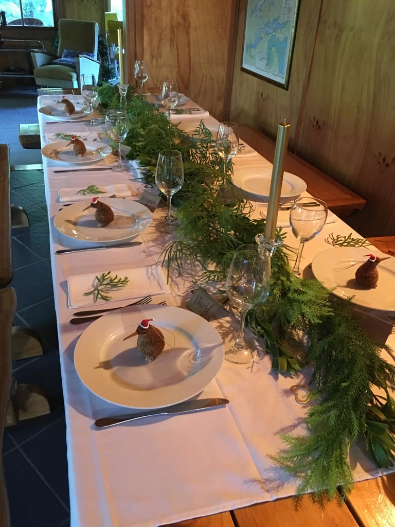 Christmas Dinner Setting On The Track Lodge Nydia Bay