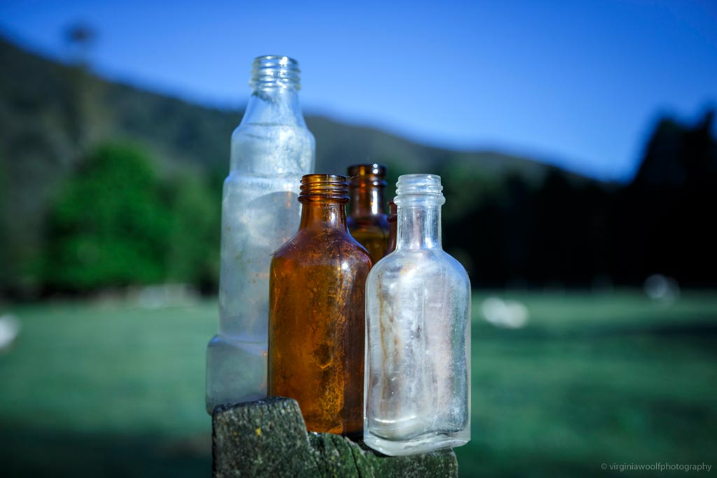 Historic bottles On the Track Lodge Nydia Bay
